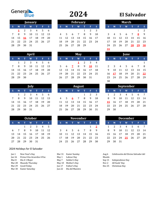 2024 El Salvador Free Calendar
