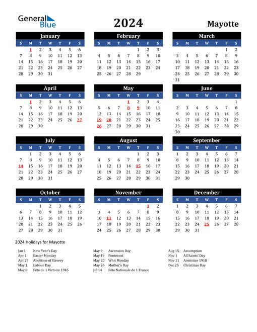 2024 Mayotte Free Calendar