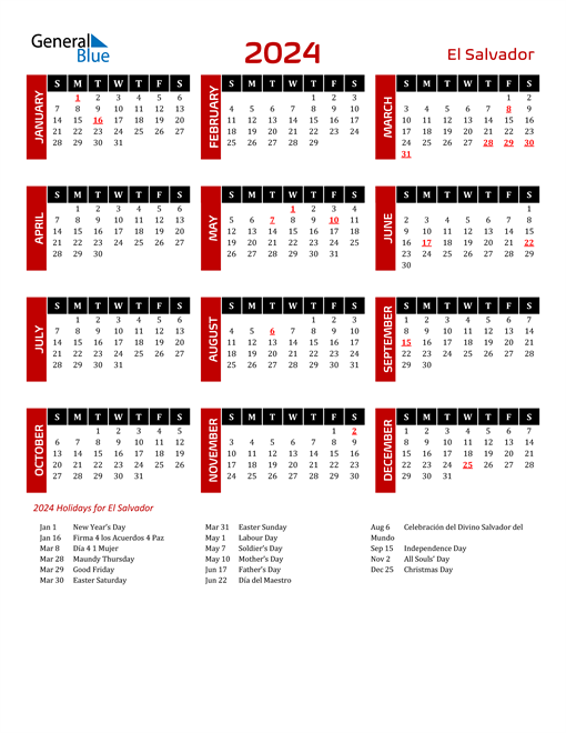 Download El Salvador 2024 Calendar