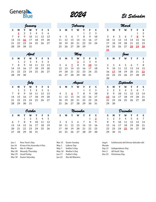 2024 Calendar for El Salvador with Holidays