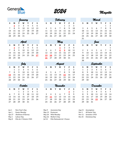 2024 Calendar for Mayotte with Holidays