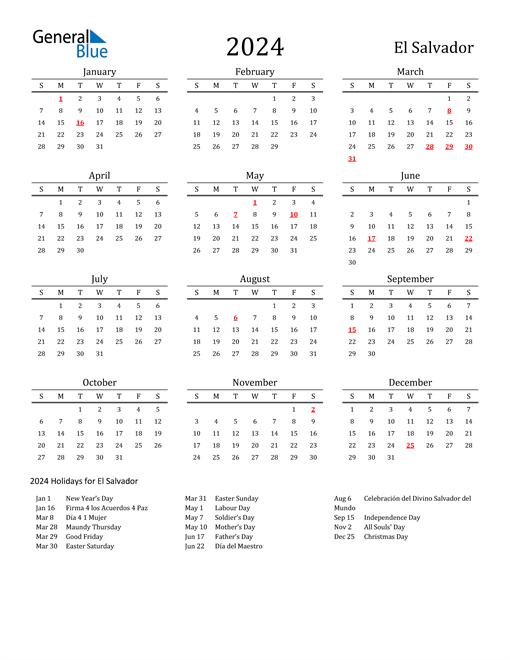 El Salvador Holidays Calendar for 2024