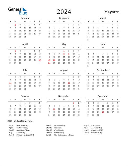 Mayotte Holidays Calendar for 2024