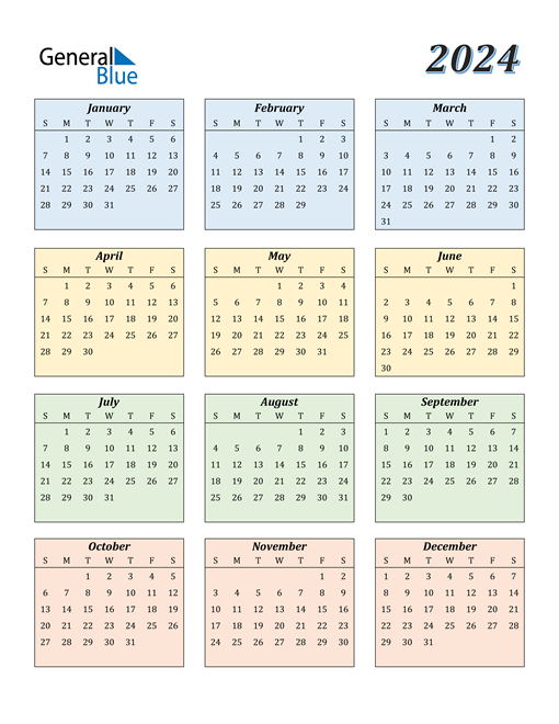 Image of 2024 2024 Calendar with Color