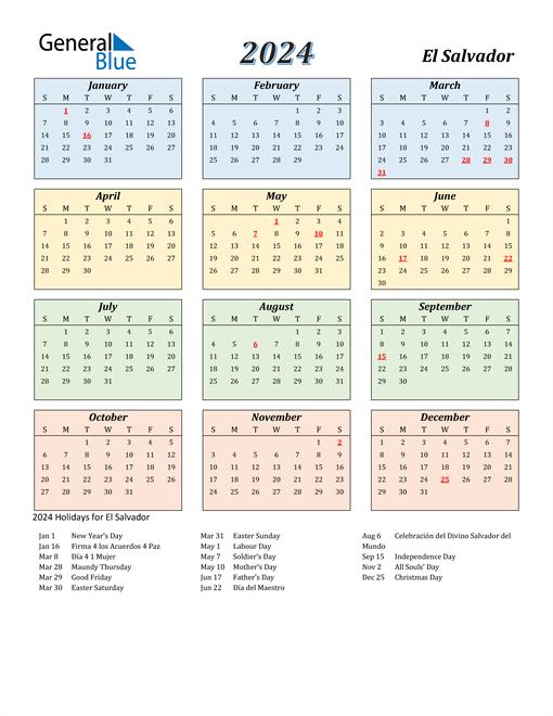 El Salvador Calendar 2024