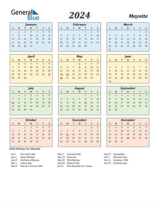 Mayotte Calendar 2024