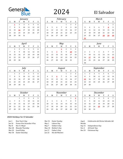 2024 El Salvador Holiday Calendar
