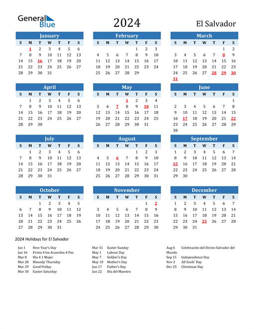 Printable Calendar 2024 with El Salvador Holidays