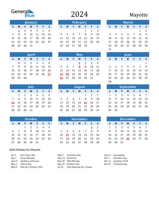 Printable Calendar 2024 with Mayotte Holidays