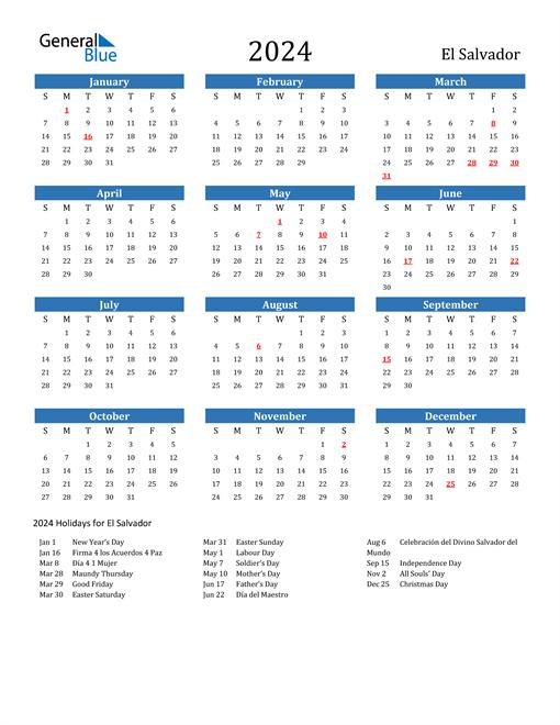 El Salvador 2024 Calendar with Holidays