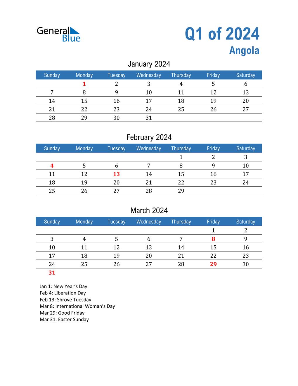 Angola 2024 Quarterly Calendar