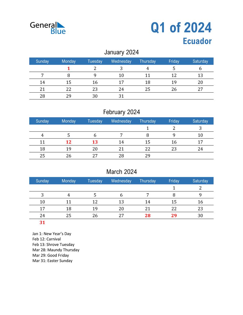 Ecuador 2024 Quarterly Calendar