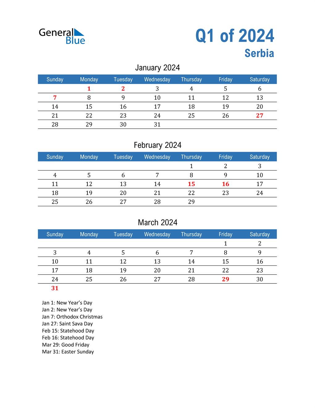 Serbia 2024 Quarterly Calendar