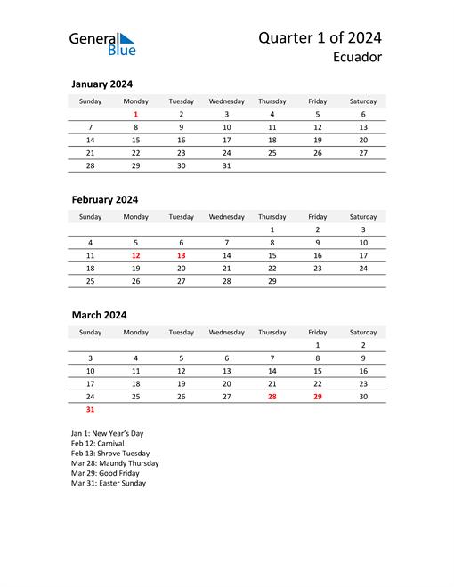 2024 Three-Month Calendar for Ecuador