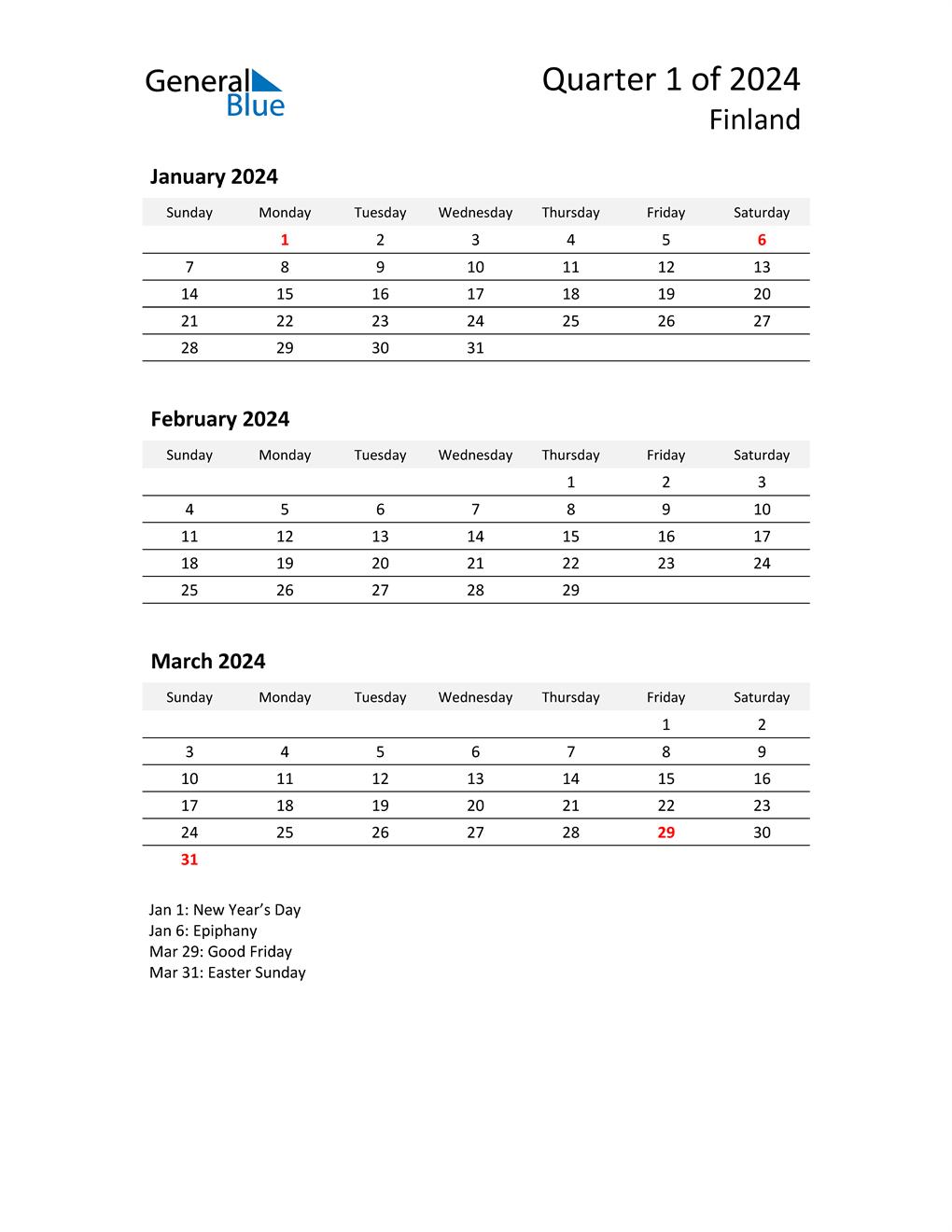 2024 Three-Month Calendar for Finland
