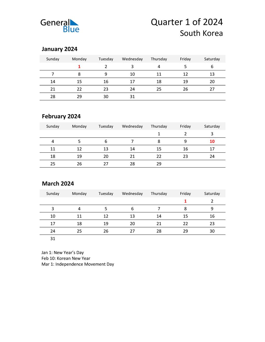 2024 Three-Month Calendar for South Korea