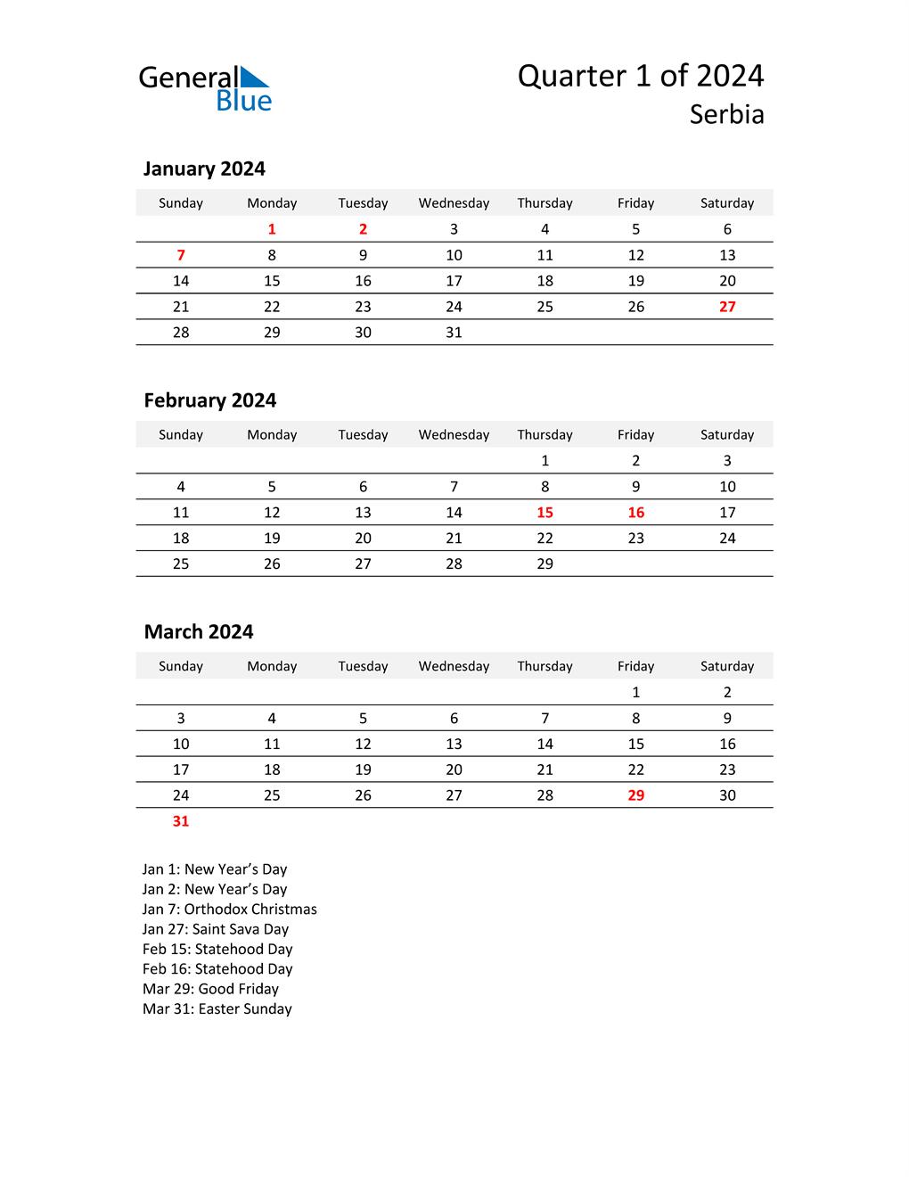 2024 Three-Month Calendar for Serbia