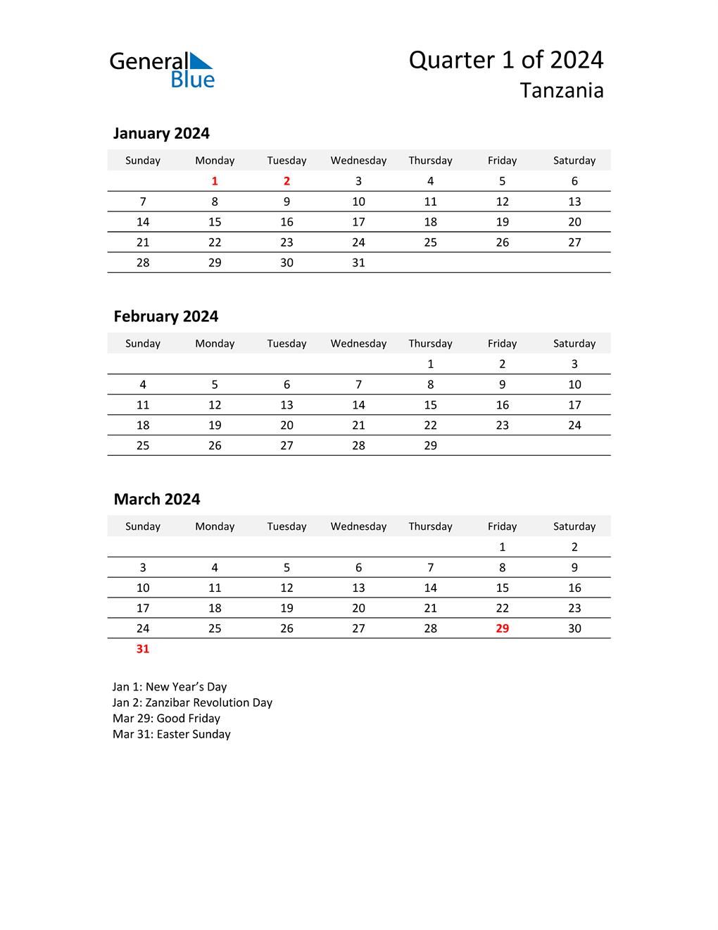 2024 Three-Month Calendar for Tanzania