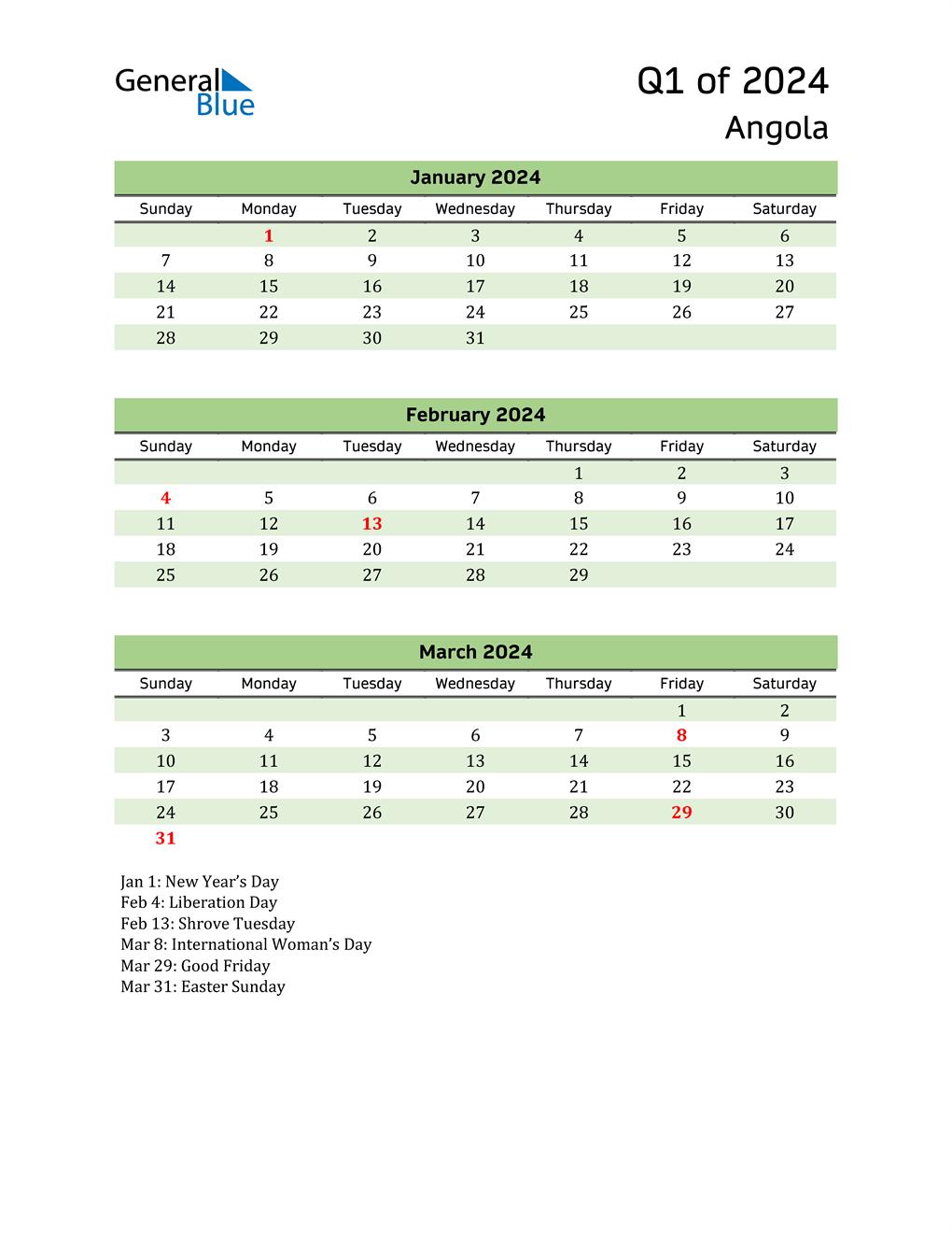 Quarterly Calendar 2024 with Angola Holidays