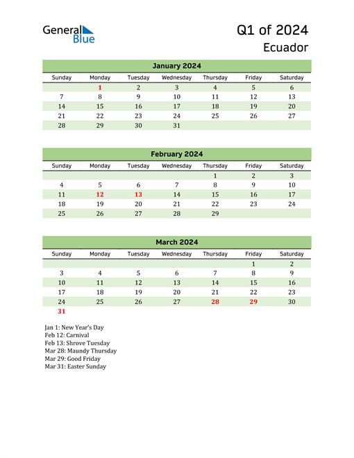 Quarterly Calendar 2024 with Ecuador Holidays