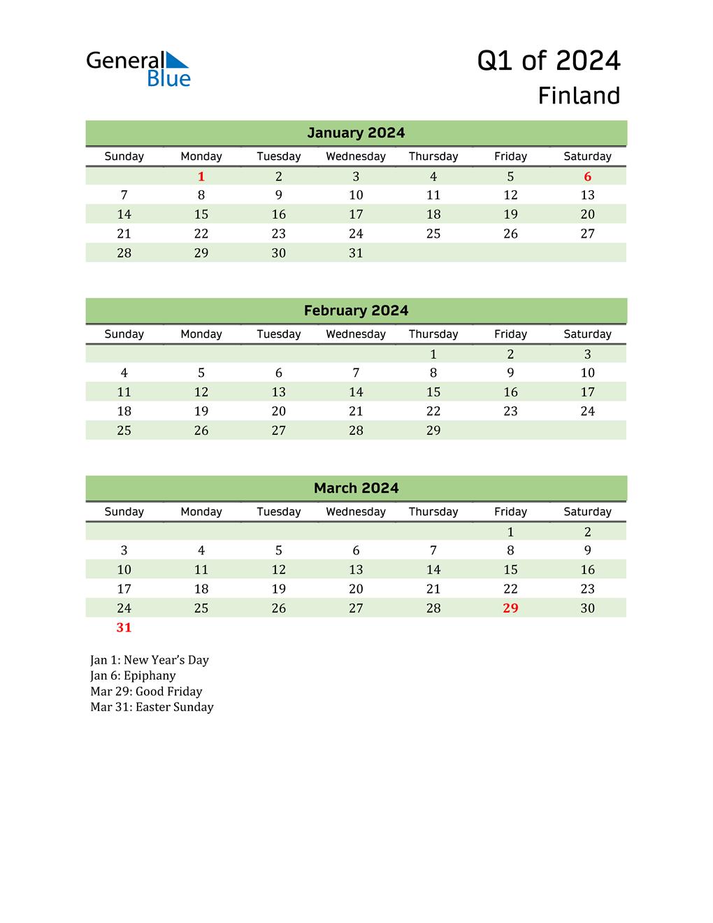 Quarterly Calendar 2024 with Finland Holidays