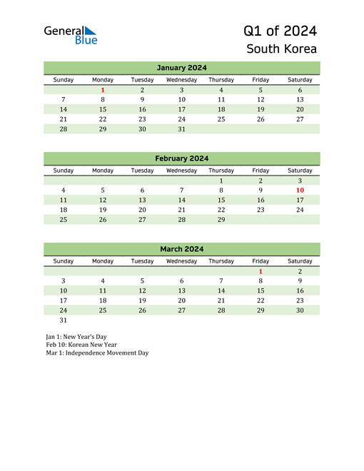 Quarterly Calendar 2024 with South Korea Holidays