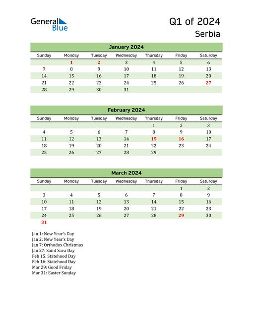 Quarterly Calendar 2024 with Serbia Holidays