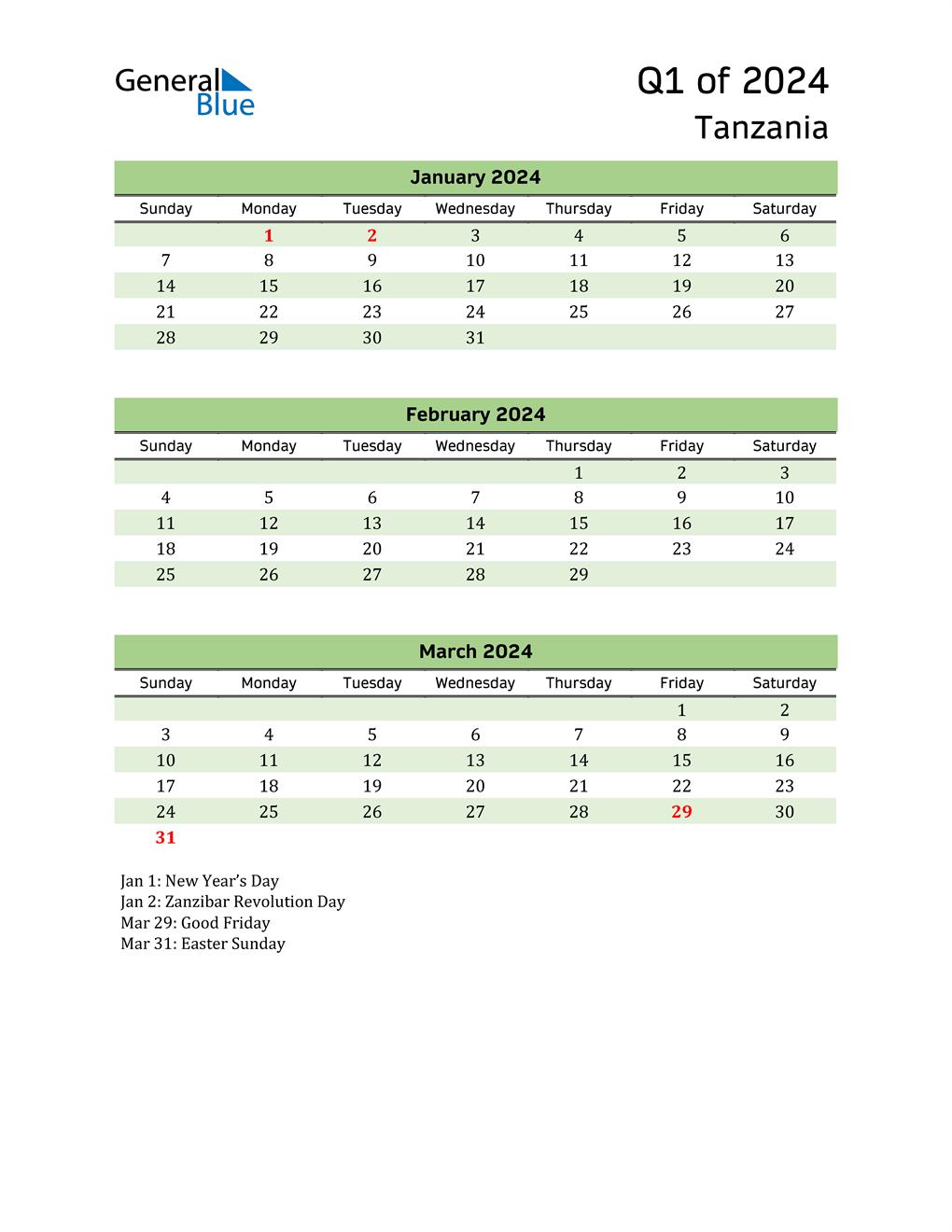 Quarterly Calendar 2024 with Tanzania Holidays