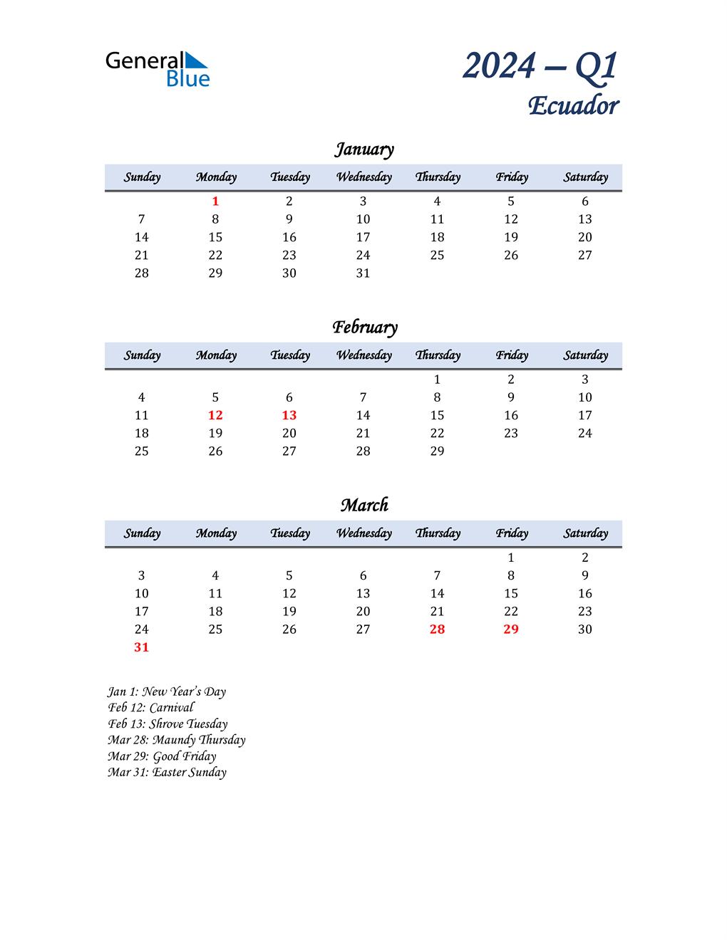 January, February, and March Calendar for Ecuador