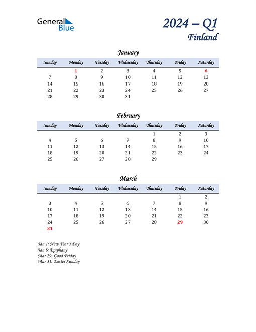 January, February, and March Calendar for Finland