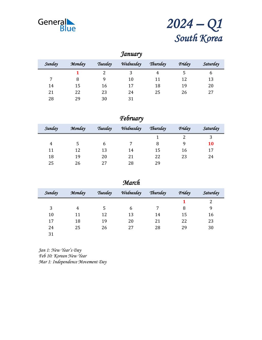 January, February, and March Calendar for South Korea