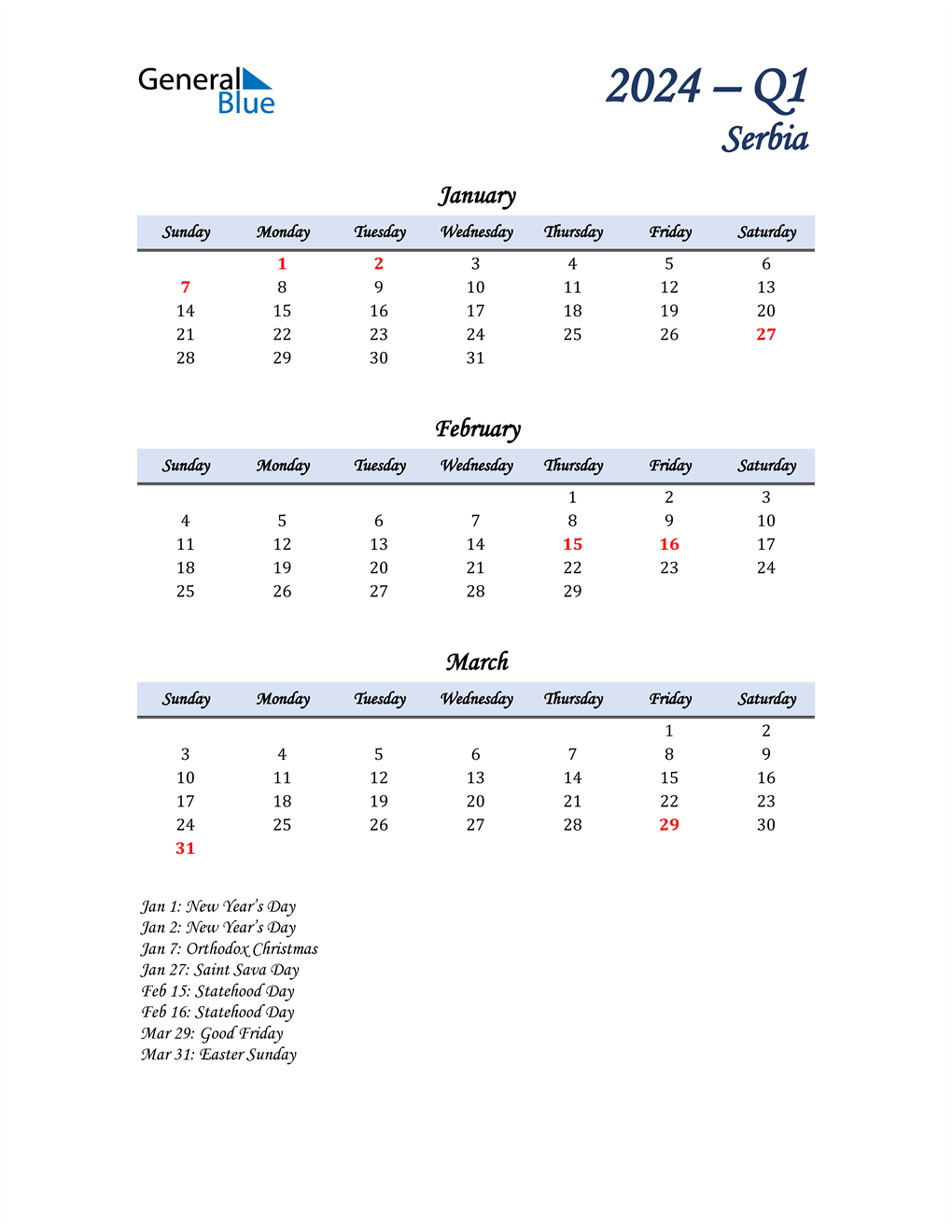 January, February, and March Calendar for Serbia