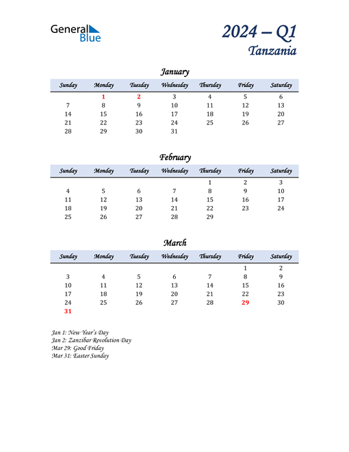 January, February, and March Calendar for Tanzania