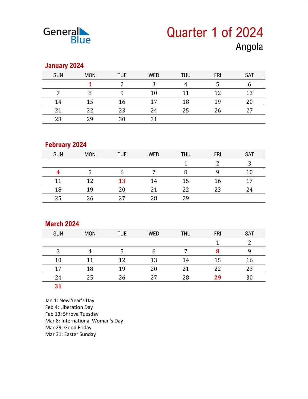 Printable Three Month Calendar for Angola