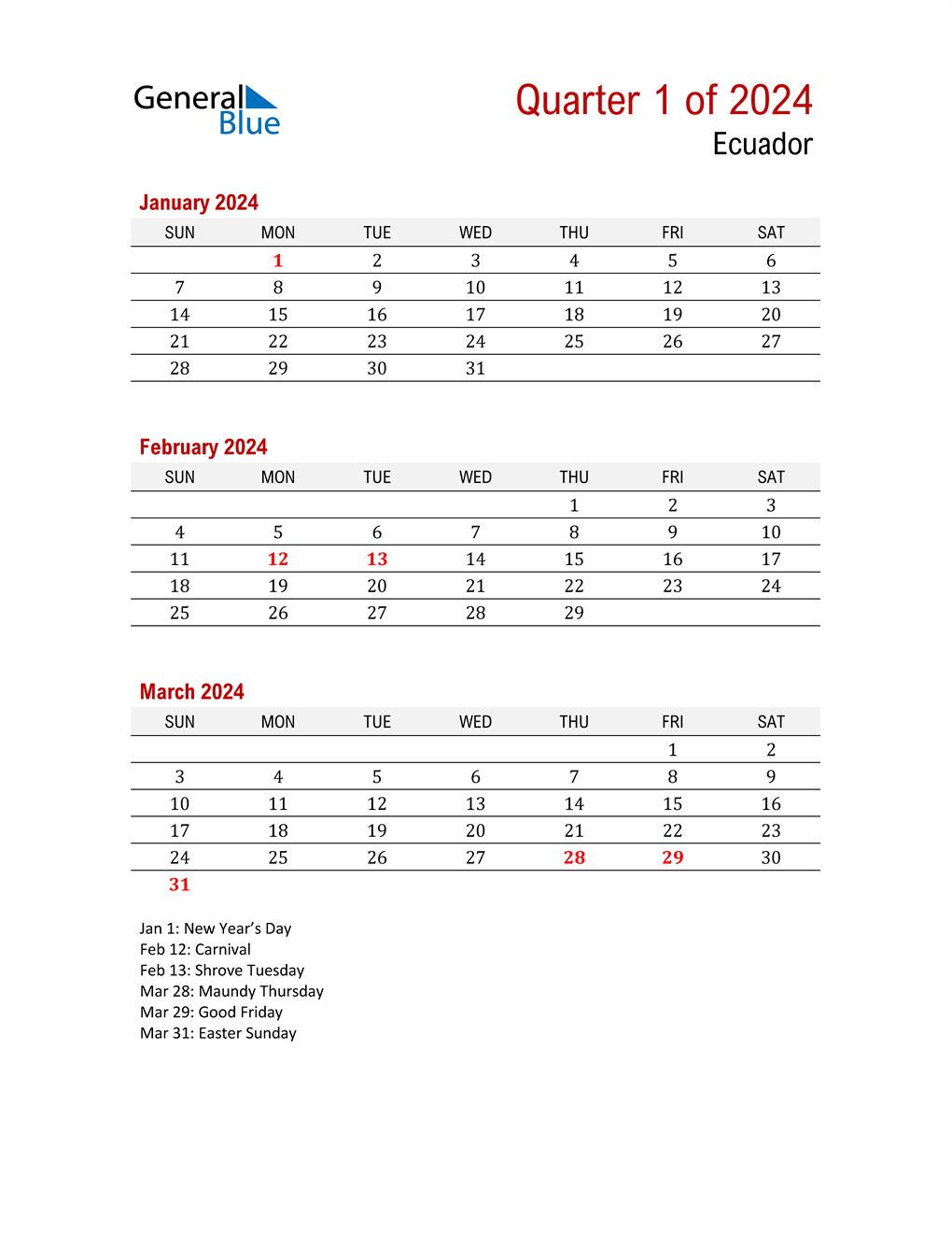 Printable Three Month Calendar for Ecuador