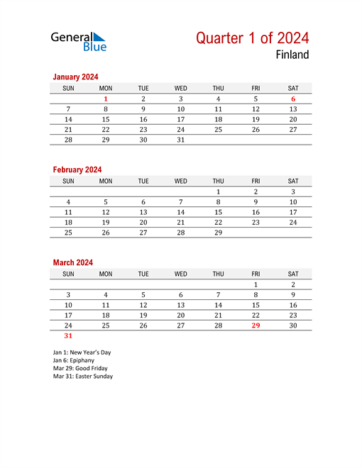 Printable Three Month Calendar for Finland