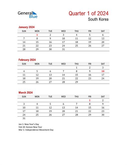 Printable Three Month Calendar for South Korea