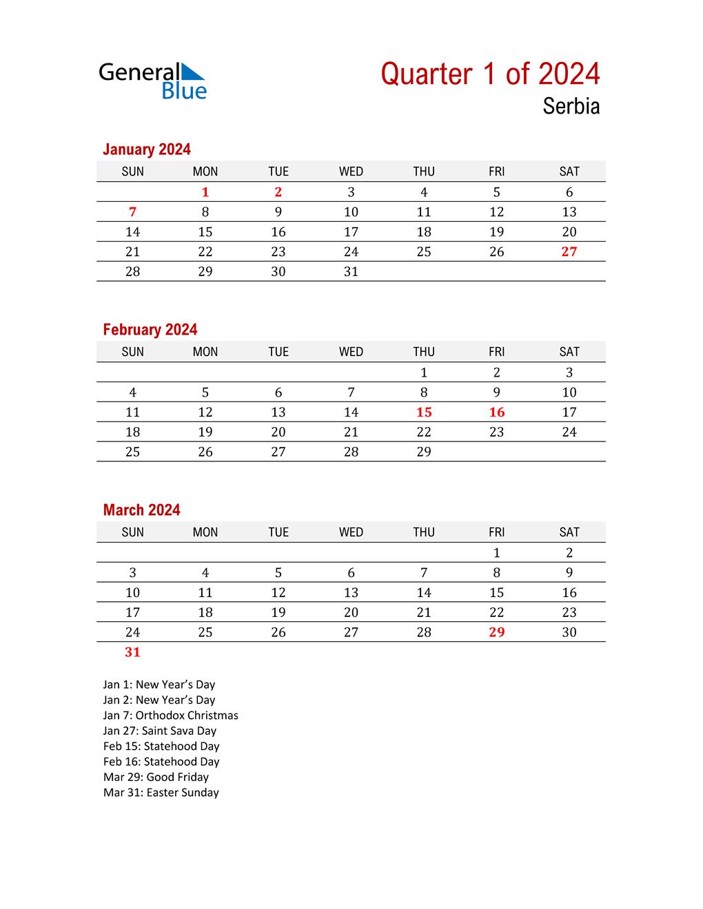 Printable Three Month Calendar for Serbia