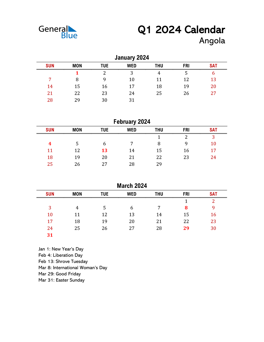 2024 Q1 Calendar with Holidays List