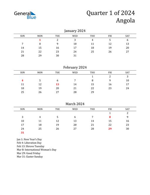 2024 Angola Quarterly Calendar