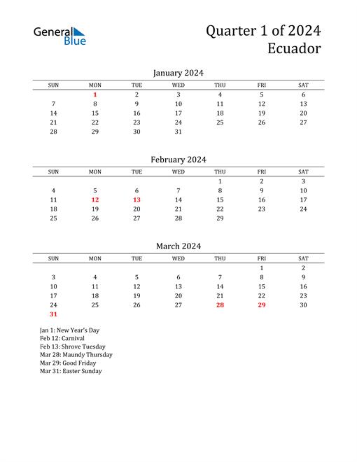 2024 Ecuador Quarterly Calendar