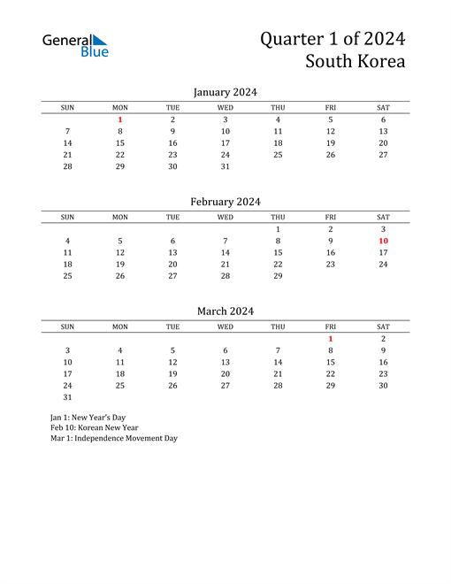 2024 South Korea Quarterly Calendar