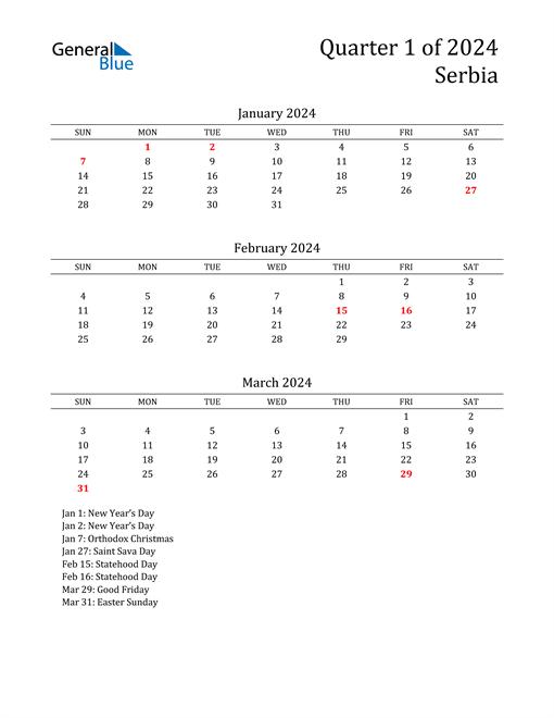 2024 Serbia Quarterly Calendar