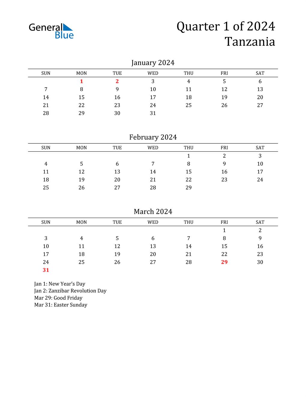 2024 Tanzania Quarterly Calendar