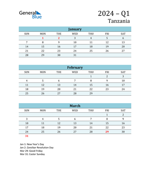 Three-Month Planner for Q1 2024 with Holidays