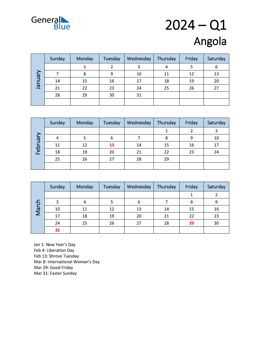 Free Q1 2024 Calendar for Angola
