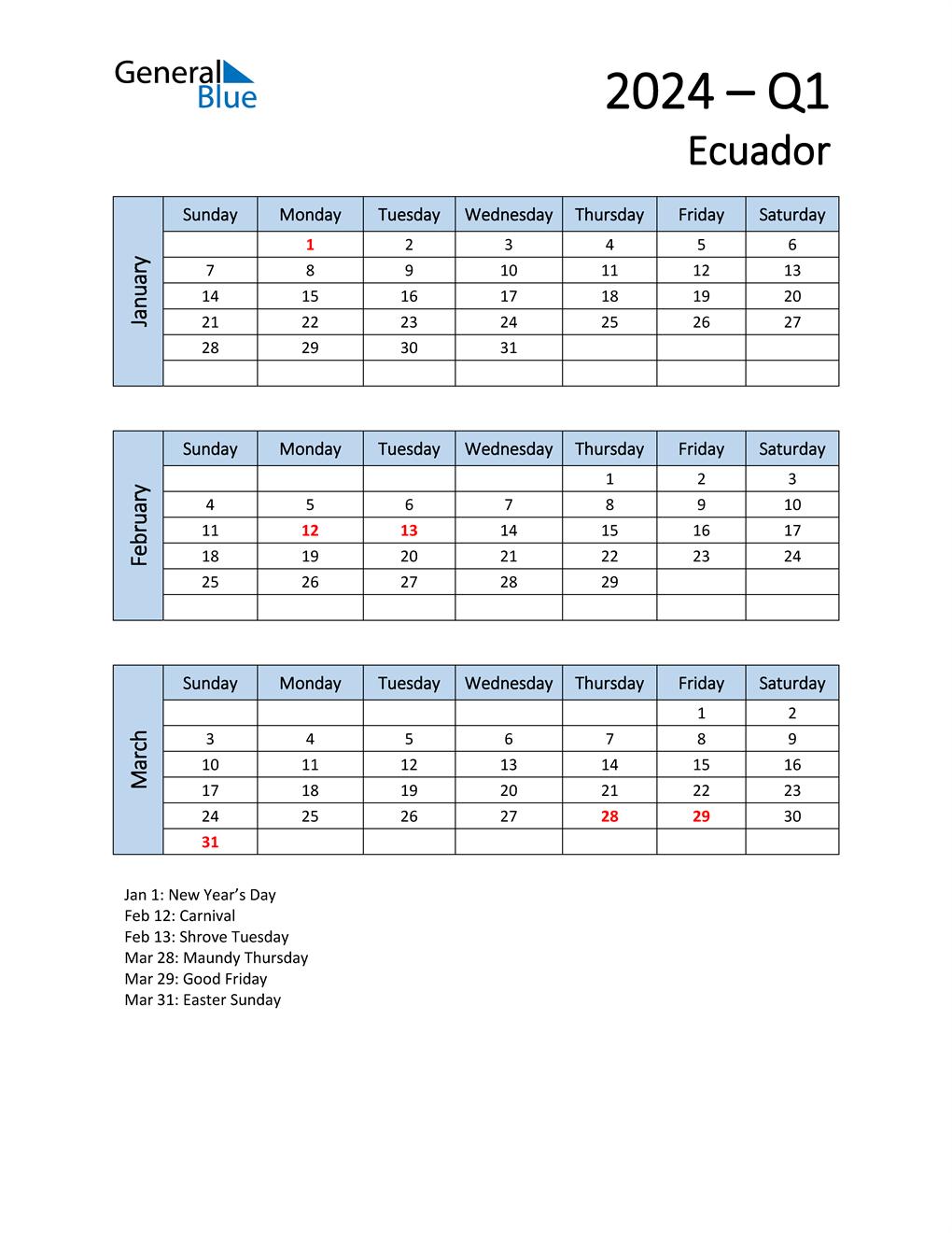 Free Q1 2024 Calendar for Ecuador