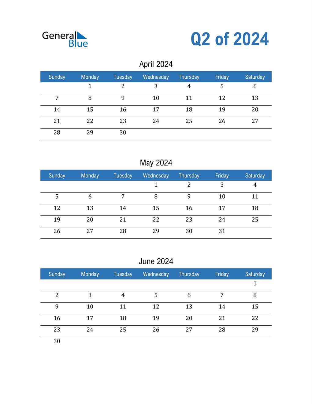Quarterly Calendar 2024