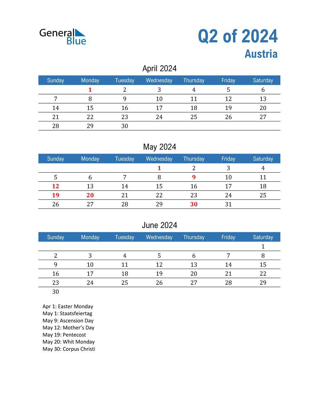 Austria 2024 Quarterly Calendar