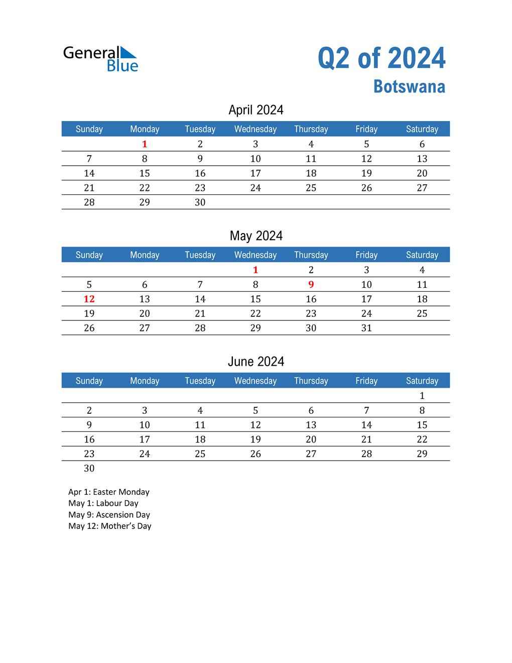 Botswana 2024 Quarterly Calendar